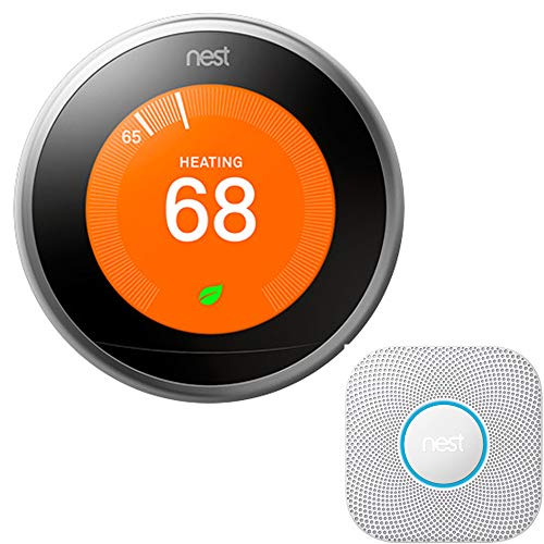 Nest Learning Thermostat (3rd Gen, Stainless Steel) Bundle with Protect Wired Smoke and Carbon Monoxide Alarm (White, 2nd Gen)
