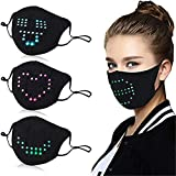 Generic Sprachaktiviertes LED-Gesicht Mundschutz Cool Light Up Smart Mundschutz Lustig für Kostüm Weihnachten Valentine's Day Party Karneval Maskerade Schwarz