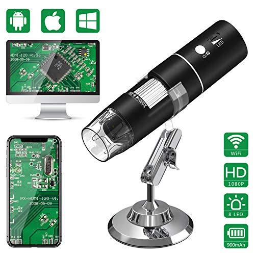 Microscopio Digitale WiFi,HEYSTOP Mini Telecamera 1080P HD 2MP,Endoscopio Ingrandimento 1000X,8 LED Microscopio Digitale USB 2.0 con Supporto in Metallo per iPhone IOS Android Phone ipad Windows MAC