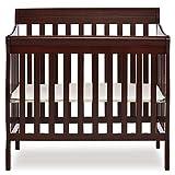Dream On Me Aden 4-in-1 Convertible Mini Crib in Espresso, Greenguard Gold Certified