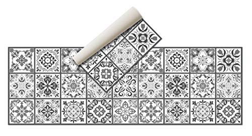 Tappeto Vinile - ( 180x60 cm grigio nero ) - Tappeto cucina , Tappeto Passatoia Cucina Antimacchia , tappeti cucina - Tappeto Antiscivolo Lavabile