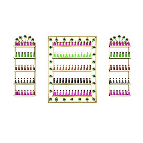TMGY Nail Polish Organizer Wall Mounted,Nail Polish Shelf Wall Mount,Nail Polish Storage Shelves,5-Layer Fingernail Polish Holder,Essential Oil Wall Rack Nail Polish Stand(Gold)