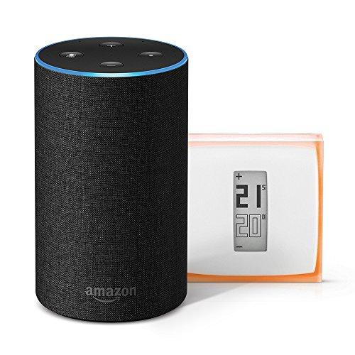 Amazon Echo (2ème génération), Tissu anthracite + Thermostat Connecté Netatmo by Starck