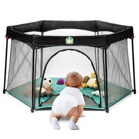 Portable Playard Play Pen for Infants and Babies - Lightweight Mesh Baby Playpen with Carrying Case - Easily Opens with 1 Hand (Turquoise)