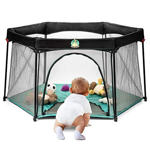 Portable Playard Play Pen for Infants and Babies - Lightweight Mesh...