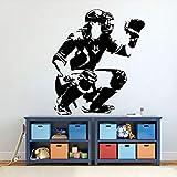 wZUN Pegatinas de Pared de béisbol, Receptor de béisbol, Aficionado a los Deportes, decoración de habitación Juvenil, Papel Tapiz de decoración del hogar, 42X37 cm