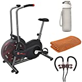 Schwinn 100425 Airdyne AD2 Upright Exercise Bike (Black) Bundle with 32 oz Leakproof BPA Free Water Bottle, Workout Cooling Sport Towel and Magnetic Wireless Sport Earbuds Gunmetal Grey