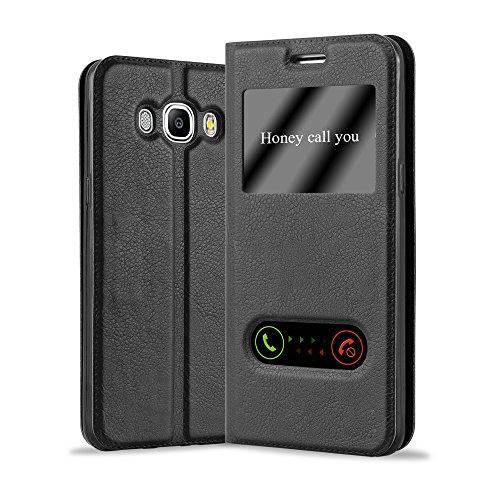 Cadorabo Custodia Libro per Samsung Galaxy J5 2016 in Nero COMETA - con Funzione Stand e Chiusura Magnetica - Portafoglio Cover Case Wallet Book Etui Protezione