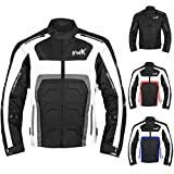 Textile Motorcycle Jacket For Men Dualsport Enduro Motorbike Biker Riding Jacket Breathable CE ARMORED WATERPROOF (Grey, L)