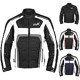 Textile Motorcycle Jacket For Men Dualsport Enduro Motorbike Biker Riding Jacket Breathable CE ARMORED WATERPROOF (Grey, XL)