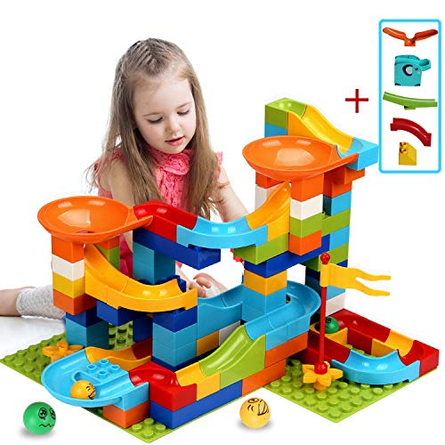 COUOMOXA Marble Run Building Blocks Classic Big Blocks STEM Toy Bricks Set Kids Race Track Compatible with All Major Brands 110 PCS Various Track Models for Boys Girls Aged 3,4,5,6,8 (Upgrade 2 in1)