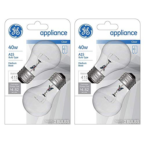 GE wef, (4-Pack) Appliance Clear Light 40w, A15 Bulb Type, Medium Base, 415 Lumens,4 Pack, 15206