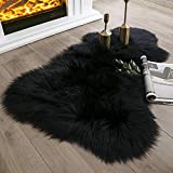 Ashler Soft Faux Sheepskin Fur Rug Fluffy Rugs Chair Couch Cover Black Area Rug for Bedroom Floor Sofa Living Room 2 x 3 Feet