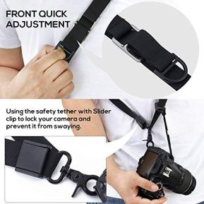waka-Rapid-Camera-Neck-Strap-with-Quick-Release-and-Safety-Tether-Adjustable-Camera-Shoulder-Sling-Strap-for-Nikon-Canon-Sony-Olympus-DSLR-Camera-Black