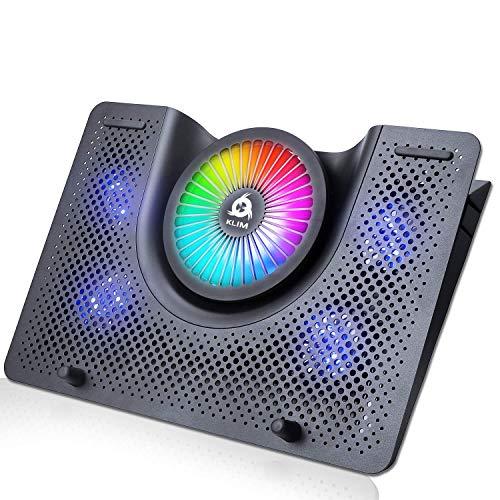 KLIM Nova + Refroidisseur PC Portable - 11' à 19' + Éclairage RGB + Support Ordinateur Portable Gaming + Ventilateur USB + Stable et Silencieux + Compatible avec Mac et PS4 + Nouveauté 2021