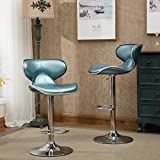 Roundhill Furniture Masaccio Cushioned Leatherette Upholstery Airlift Adjustable Swivel Barstool with Chrome Base, Set of 2, Blue