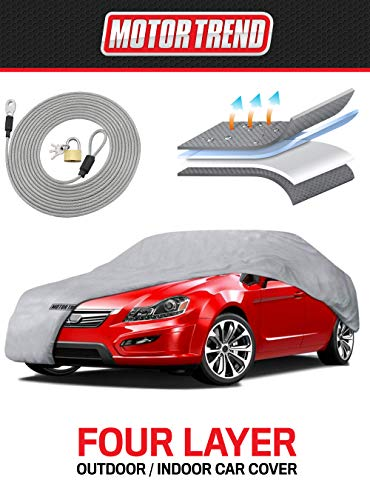 Motor Trend 4-Layer 4-Season (Waterproof Outdoor UV Protection for Heavy Duty Use Full Cover for Cars up to 190')