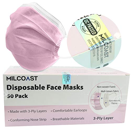 Milcoast Premium Disposable Face Masks Breathable 3-Layer...
