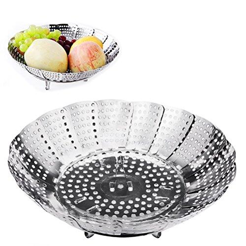 Vicloon Cestello per Cuocere Verdure a Vapore,Cucina Cestino a Vapore Pieghevole in Acciaio Inossidabile della Maglia,Argento