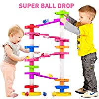 EDUCATIONAL PLAY - Learn to make the balls go faster, promotes STEM Intellect Skills, Creativity, Originality and Concentration PLAY TOGETHER GIANT MARBLE RUN - launch all 4 balls at once. Stack'em higher and watch the ball swirl it's way down NEXT G...