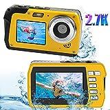 Fotocamera Subacquea Macchina Fotografica Subacquea 48MP 2.7K Fotocamera Subacquea Digitale 16X Zoom Digitale Selfie a Doppio Schermo Fotocamera Impermeabile per Lo Snorkeling