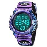 Dreamingbox Kids Wrist Watch Boys Girls, Multi Function Waterproof Sports Digital Wrist Watch Gifts for 6-12 Year Girls Teenage Kids Watches Boys Gradient Purple MMXBS13