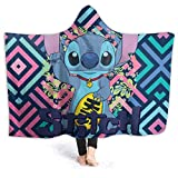FT FENTENG Fall Hooded Blankets for Kids Baby, Li-Lo & Sti-Tch Baby Anime Wearable Blankets for Christmas, Camping, Study, Anti-Static Cozy Hoodie Cloak, 50x40 Inch