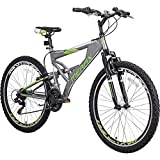 Merax FT323 Mountain Bike 21 Speed Full Suspension Aluminum Frame MTB Bicycle - 26 inch (Gray&Green)
