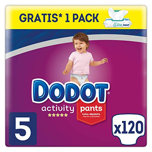 Dodot Pañales Bebé Activity Pants Talla 5 (12-17 kg), 120 Pañales + 1 Pack de 48 Toallitas Dodot Aqua Pure de Regalo