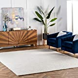 nuLOOM 200CB01-406 Caryatid Handwoven Solid Wool Rug, 4' x 6', Off-White
