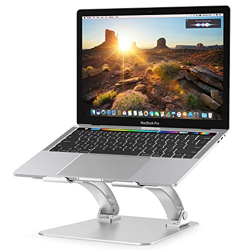 Nulaxy Laptop Stand, Ergonomic Height Angle Adjustable Computer Laptop Holder Compatible with MacBook, Air, Pro, Dell XPS, Samsung, Alienware All Laptops 10-17.3', Supports Up to 44 Lbs-Silver