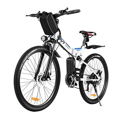 Vivi Vélo Électrique Pliable, 350W VTT Électrique Vélo Électrique pour Adulte Homme Femme,26' Vélo Électrique en Montagne, vec Professionnel Shimano 21 VitessesBatterie Amovible 36V / 8AH