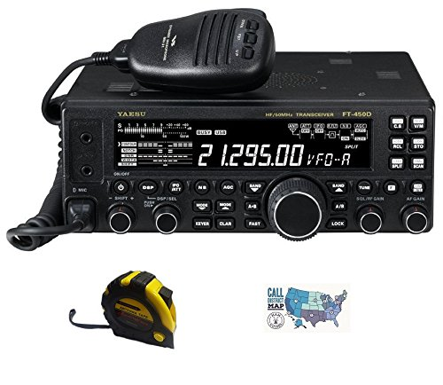 Bundle - 3 Items - Includes Yaesu FT-450D Base Station Radio 100W HF/6M with The New Radiowavz Antenna Tape (2m - 30m) and HAM Guides Quick Reference Card