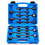 10pc 1/2' Drive Torque Limiting Extension Bar Set, Torque Extension Tool Set with 8 Inch 65-150 ft.-lb. Torque Sticks for Safely Locking Lug Nuts, Impact Torque Limiter Set