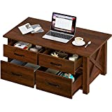 Rolanstar Coffee Table with Storage, Farmhouse Coffee Table with 4 Drawers and Shelves, Large Storage Wooden Central Table for Living Room Espresso