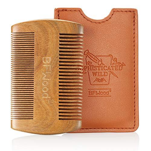 BFWood Pettine Tascabile per Barba e Baffi – Pettine in Legno di Sandalo con Custodia in Pelle
