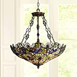 Floral Garden Bronze Tiffany Pendant Chandelier 22' Wide Bowl Stained Glass Shade 3-Light Fixture for Dining Room House Foyer Kitchen Island Entryway Bedroom Living Room - Robert Louis Tiffany