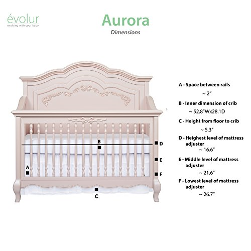 Product Image 13: Evolur Aurora 5-in-1 Convertible Crib, Blush Pink Pearl