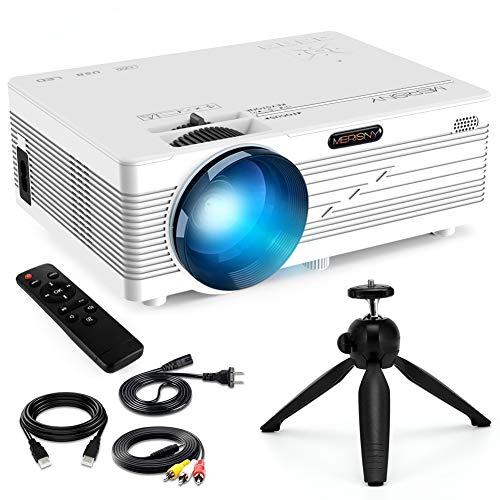 Merisny Mini Beamer mit Halterung, 3500 Lumen Tragbar LCD Video Projektor mit max 176' Display, unterstützt 1080P Full HD,Kompatibel mit HDMI VGA USB AV TF für Smartphone Laptop