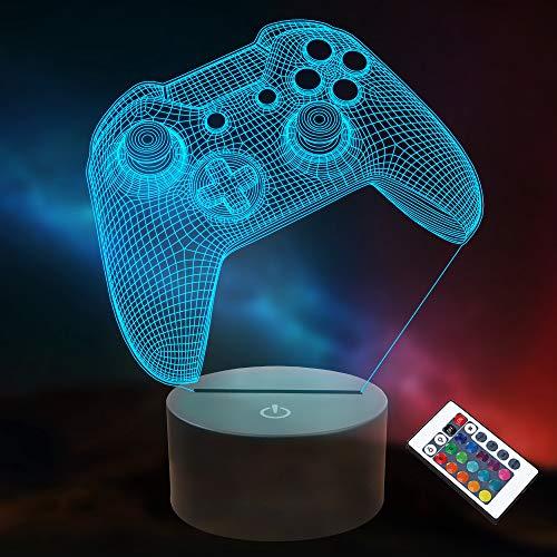 3D Gamepad Nachtlicht, Lightzz Game Console Illusionslampe mit Fernbedienung + Touch 16 Farbblinken...