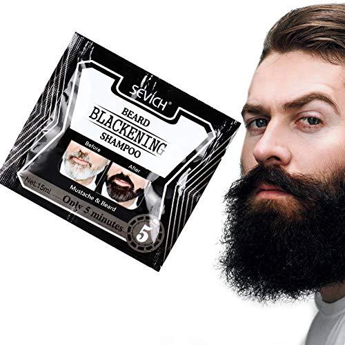 Shampoo Annerente Barba, 5pcs Shampoo Barba Tintura Annerente Barba Nero Naturale Solo 5 Minuti(75ML)