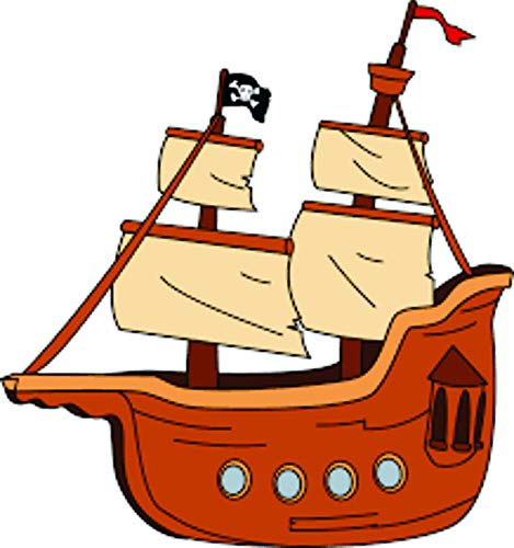 Popular Colorful Pirate Ship Wall Decals - Boys Room Pirates Ships Kids Decor Sticker Room Decoration for Bedrooms - Childrens Vinyl Stickers Sticker Boy Designs Size 20x20 inch