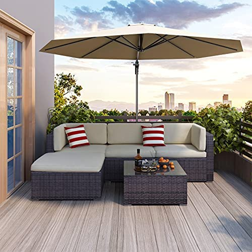 POVISON Patio Furniture Sets 5 Pieces Outdoor Sectional All Weather Brown PE Wicker Patio Couch with Cushions and Glass Coffee Table for Porch Garden Balcony Poolside Outdoor Sofa (Greyish Beige)