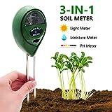 [2019 Upgraded] Soil Moisture Meter - 3 in 1 Soil Test Kit Gardening Tools PH, Light & Moisture, Plant Tester Home, Farm, Lawn, Indoor & Outdoor (No Battery Needed)