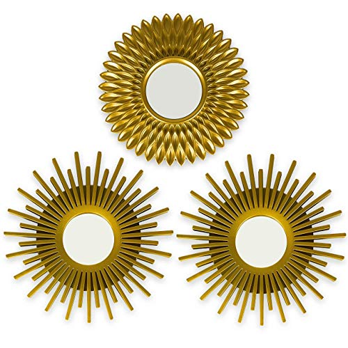 BONNYCO Gold Mirrors for Wall Pack of 3 Wall Mirrors for Room...