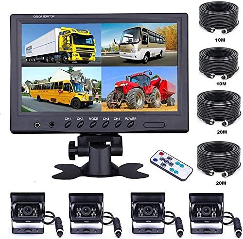 OiLiehu Telecamera Di Retromarcia Per Auto Da 9 '' Con Vista Frontale Di 4 Monitor Separati,4 X Telecamera Per Auto Cablata 18 IR Night Vision,Con Cavi Da 2 X 10M e 2 X 20M Per Camion,Rimorchi,Autobus