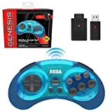 Retro-Bit Sega Genesis 2.4 GHz Wireless Controller 8-Button Arcade Pad for Sega Genesis Original/Mini, Switch, PC, Mac – Includes 2 Receivers & Storage Case - Clear Blue