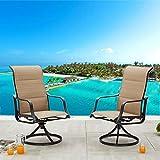 LOKATSE HOME Outdoor Dining Swivel Chairs Patio Sling Rocker Chair with Steel Metal Frame (Set of 2), Beige