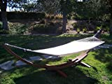 Petra Leisure, 14 Ft. Water Treated Wooden Arc Hammock Stand + Premium Quilted, Double Padded Hammock Bed. 2 Person Bed.450 LB Capacity(Coffee Stain/Beige)