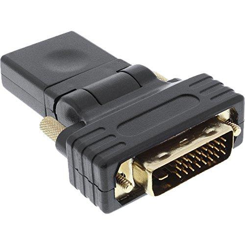 InLine 17660W HDMI-DVI Adapter, HDMI Buchse auf DVI Stecker, flexibler Winkel, vergoldete Kontakte, 4K2K kompatibel